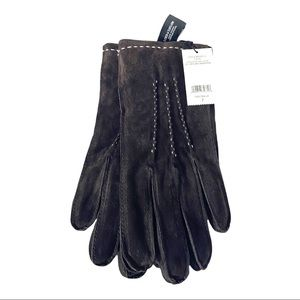 Lord & Taylor Brown Suede Faux Fur Lined Gloves Size 7